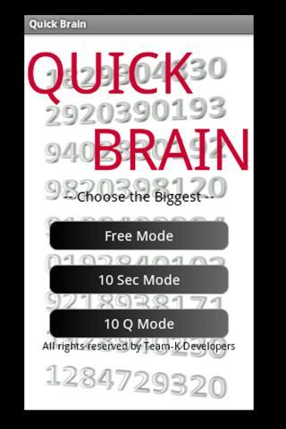 QuickBrain -Choose the Biggest