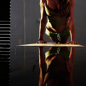 she's a double  by Magdalena Wysoczanska - People Body Parts ( body, reflection, physic, woman, glass, still,  )