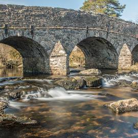 Postbridge by Robert Clarke - Buildings & Architecture Bridges & Suspended Structures ( water, waterscape, flowing water, postbridge, bridge, dartmoor, river )