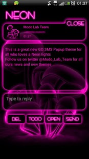 Pink Neon GO Popup theme - screenshot