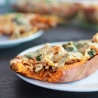 Healthy Chipotle Chicken Sweet Potato Skins