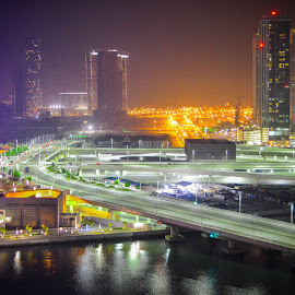 City Lights at Night by Zarrah Jane Amagan - Novices Only Street & Candid ( novice, street, nice, al reem island, female photographer, empower, women, rookie, city, beginner, lights, uae, abu dhabi, hotel, bridge,  )