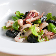 Squid ink gnocchi with Brussels sprouts and chilli