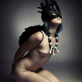 Vicki wings  by Mark Wood - Nudes & Boudoir Artistic Nude ( studio, model, topless, wings, mask, feathers,  )