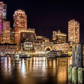 Boston Skyline @ Night 2 by Matt Reynolds - City,  Street & Park  Skylines