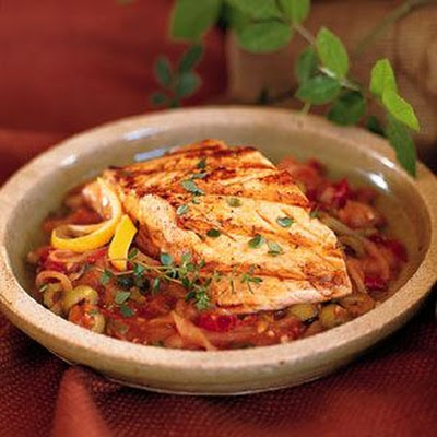 Grilled Salmon with Lemon-and-Thyme-Scented Salsa Veracruzana