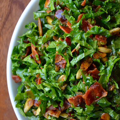 Raw Kale Salad with Warm Bacon Vinaigrette