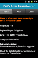 Screenshot of Pacific Ocean Tsunami Alerter