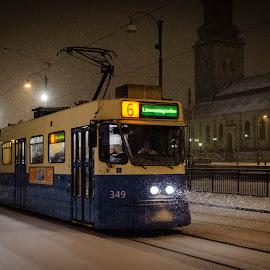 Tram by Anders F. Eriksson - Transportation Trains ( sweden, winter, gothenburg, transport, seasons, sverige, tram, vehicles,  )
