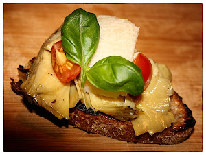 Bruschetta with grilled artichoke and parmesan