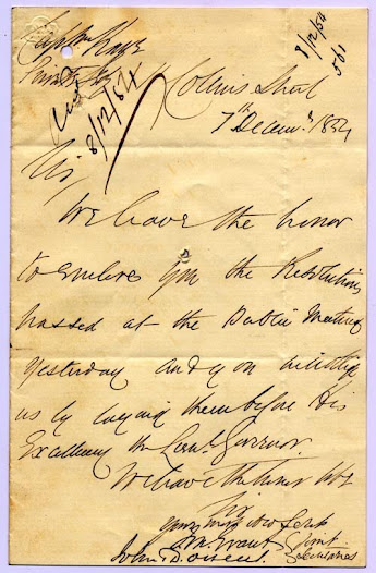"This document, dated 8 December 1854, recording a public meeting held in the 'vacant piece of ground adjoining St Paul's Church' does not directly support the diggers, but it does show a great deal of discomfort with the government's resort to military force in Ballarat.  <a href=""http://wiki.prov.vic.gov.au/index.php/Eureka_Stockade:Resolutions_from_the_public_meeting_forwarded"">Click here to see more of this record on our wiki</a>"