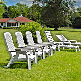 All In A Row by Darcie Wright - Artistic Objects Furniture ( chairs seats white green row line )