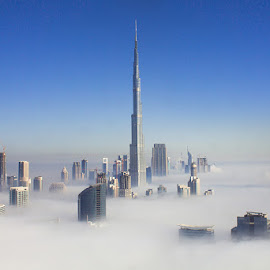 Burj Khalifa - Hundred meters shorter by Jruzz Merca - Buildings & Architecture Architectural Detail ( clouds, dubai, fog, uae, burj khalifa )