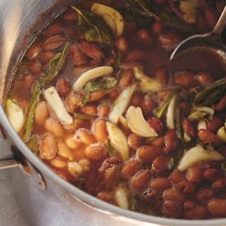 Cranberry Beans With Charred Peppers And Mustard Greens