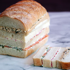 Egg Salad, Salmon, and Radish Sandwich Loaf