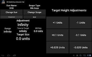 Screenshot of BF3 Bullet Drop Calculator
