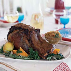 Coriander and Black Pepper-Crusted Rib Roast with Roasted Onions