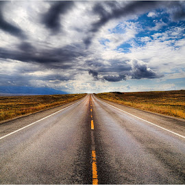 The Road Ahead by Dennis Ba - Landscapes Prairies, Meadows & Fields ( colorado, storm clouds, prairie )