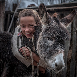 Friends by Rucsandra Calin - Babies & Children Child Portraits ( child, friends, girl, donkey )