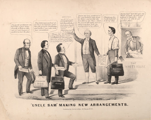 "<b>A Pro-Lincoln Cartoon</b>  After Lincoln was nominated as the Republican presidential candidate, there was an instant clamor for information on the ""railsplitter"" candidate. Photographs, engravings, and cartoons, not all of which supported Lincoln, were widely circulated during the 1860 campaign.  Shown here is a <a href=""http://www.gilderlehrman.org/collections/b690035e-a24c-41d3-b33c-453693129078"">Maurer cartoon</a> predicting victory for Lincoln. ""Uncle Sam,"" without beard and attire familiar today, welcomes ""Honest Abe"" to the White House as he turns away the other three candidates. President James Buchanan is shown inside packing his ""dirty linen."""