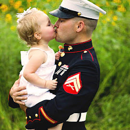 Welcome home daddy by Jennifer Olmstead - People Portraits of Men ( marine, kiss, home, america, daddy, daughter, deployed, reunited, baby, proud, dress blues, father )
