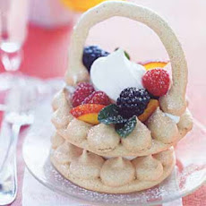 Cocoa Meringue Baskets with Nectarines, Berries, and Cream