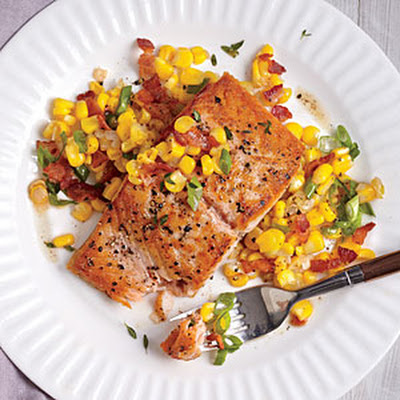 Seared Salmon with Sweet Corn and Bacon Sauté