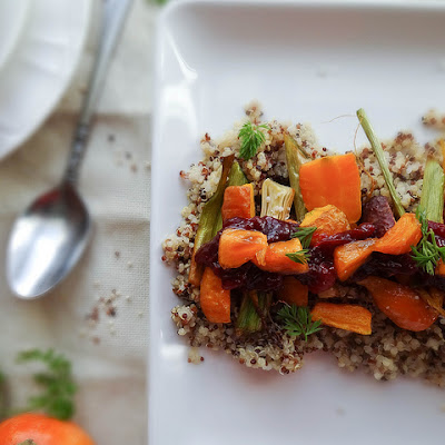 Roasted Carrot Quinoa Salad ~ Cranberry Chutney