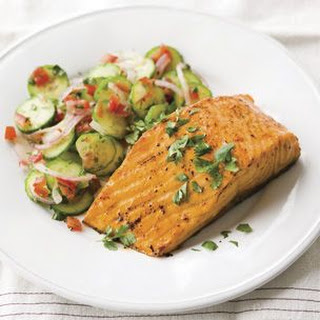Spice-Roasted Salmon with Cucumber Salad (Tandoori Spice)