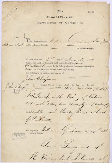 "The depositions in this item were taken regarding the charge against John Chapman for breach of the peace in the riot of 30 November 1854. <a href=""http://wiki.prov.vic.gov.au/index.php/Eureka_Stockade:Depositions_taken_against_John_Chapman_for_Breach_of_the_Peace_charge/Gravel_Pits_Riot"">Click here to see more of this record n our wiki</a>"