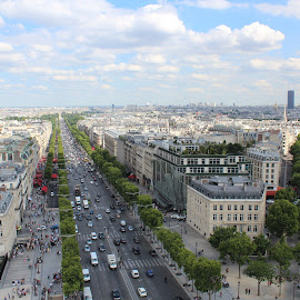 Champs Elysees by Abhinav Prasad - City,  Street & Park  Street Scenes ( clouds, paris, arc de triomphe, champs elysees, street )