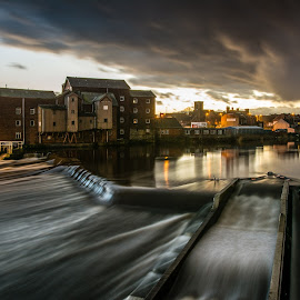 Castleford Weir by Phil Gledhill - City,  Street & Park  Neighborhoods ( mill, castleford, rivers & canals, weir, places, bridge, architecture, landscapes )
