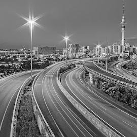 Spaghetti Junction by Cornelia Schulz - City,  Street & Park  Night