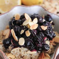 Vegan Lemon Breakfast Quinoa Toasted Almonds and Blueberry Compote