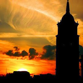 Sunset and tower by Evaldas Kazragis - City,  Street & Park  Street Scenes