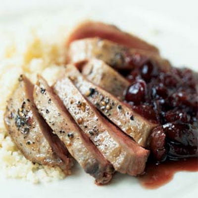 Duck with Port and Cranberry-Cherry Sauce
