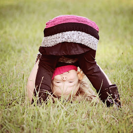 Peek-a-Boo by Ali Reagan - Babies & Children Children Candids ( playing, child, blonde, girl, grass field, peekaboo )