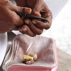 Betel Nuts by Aayush Dubey - Food & Drink Fruits & Vegetables ( #betelnut, #ancestoralvillage, #traditionalwayofbreakingnut, #lovethesimplicity, #food )