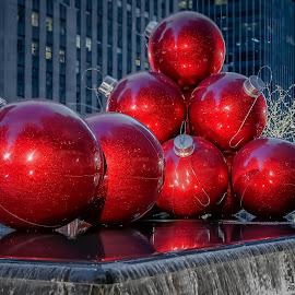 Holiday Christmas Balls by Linda Karlin - City,  Street & Park  Street Scenes ( holiday, nighttime, nyc,  )