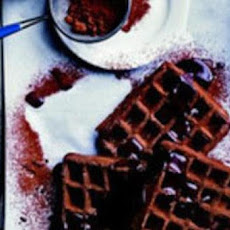 Gingerbread Waffles with Hot Chocolate Sauce