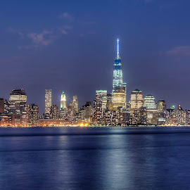 Wall Street Blue by Gary Aidekman - City,  Street & Park  Skylines ( skyline, blue, manhattan, new york city, wall street, freedom tower,  )
