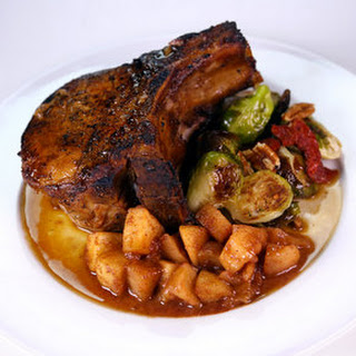 Pork Chops with Apple Mash & Roasted Brussels Sprouts