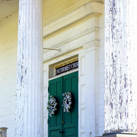 Church Doors by Constance S. Jackson - Buildings & Architecture Places of Worship ( doors, church, green, architecture, historic )