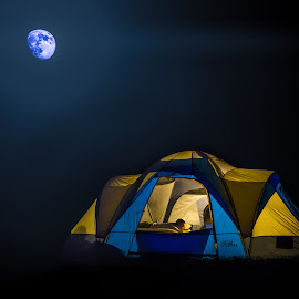 The Campout by Lana Tolle - Digital Art Things ( lights, moonshine, moon, blue, camping, outdoors, tent, yellow, glow, people )