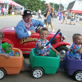 Iowa State Fair by Linda McCormick - People Family ( bo bo the clown, triplets, our train, fun at the fair, iowa fair )