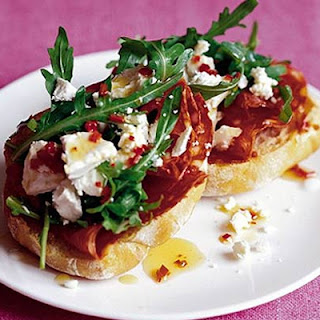 Spicy Sausage Goat's Cheese Toasts