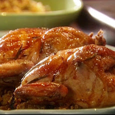 Holiday Hens with Fig Glaze and Cornbread Stuffing