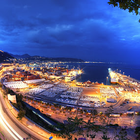 Salerno @ The Blue Hour by Sabrina Campagna - Landscapes Waterscapes ( samyang, fisheye, blue hour, lunga esposizione, tourism, salerno, campania, night photography, 8mm, city lights, night, long exposure, italy, ora blu, , colorful, mood factory, vibrant, happiness, January, moods, emotions, inspiration )