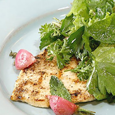 Grilled Chicken Paillards with Herb Salad and Sauteed Radishes