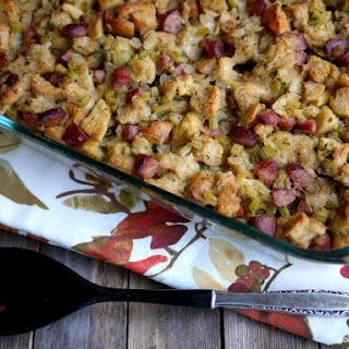 Challah Bread and Kielbasa Stuffing